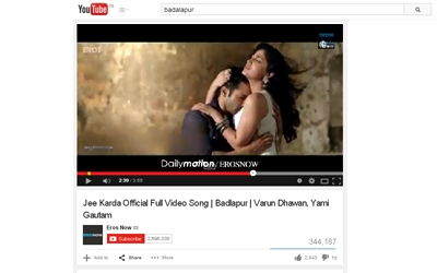"""Jee Karda"" Official Full Video Song of Badlapur on You Tube."