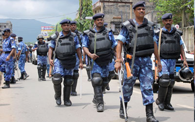 Flag march in curfew affected area at Jamshedpur
