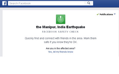 Earthquake in Northeastern India :: Facebook activated Safety Check.