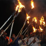 Torch light procession by RMC workers