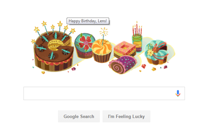 "Google says ""Happy Birthday Lens Eye"""