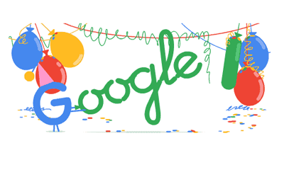 Google celebrated its eighteenth birthday with a colorful animated doodle.