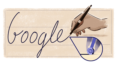 Google celebrated birthday of Ladislao José Biro [ inventor of modern ballpoint pen ] with a animated doodle