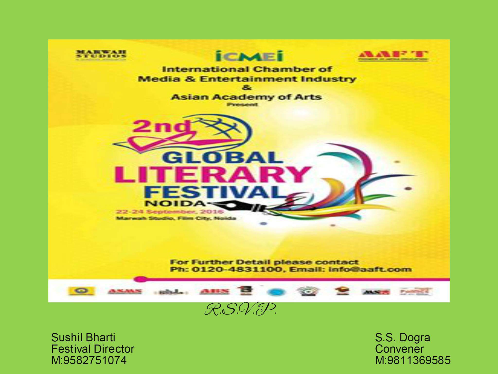 The 2nd Global Literary Festival from 22 to 24th of Sept 2016 at Film City, Noida