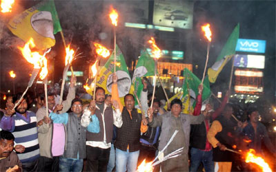 Eve of Jharkhand Bandh :: Tourch light protest rally