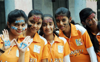 New Year Celebration with face painting & Beti Bachao Message