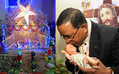 Cardinal Telesphore P.Toppo kisses Idol of Jesus Christ