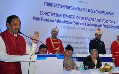 "Consultation will focus on rehabilitation services and linkages with POCSO Act 2012   RANCHI, 11 February 2017 – The third Eastern Region Round Table Conferences on effective implementation of Juvenile Justice Act 2015 was inaugurated by Mr. Raghubar Das, Hon'ble Chief Minister of Jharkhand in BNR Chanakya BNR here today. The conference is being organized by the Supreme Court Juvenile Justice Committee in partnership with Department of Women, Child Development & Social Security with UNICEF support and is hosted by the Jharkhand High Court. The conferences seeks to promote learnings from across States and to develop strategies for effective implementation of the JJ Act in India. The states participating in this two day conference are Orissa, Chattisgarh, West Bengal, Bihar, Jharkhand& Andaman and Nicobar. In August 2013, a one person Committee headed by Hon'ble Mr. Justice Madan B Lokur was set up to ensure the effective implementation of the Juvenile Justice (Care and Protection of Children) Act, 2000. During a review meeting with state level JJ Committees of the Hon'ble High Courts on 22 February 2014 it was suggested that Regional Round Table Conferences of the High Court Committees should be organized regularly to enable dialogue and collective action towards more effective implementation of the JJ Act 2000. These Regional Round Table Conferences are the first of its kind in the country and was referred to as a 'breakthrough moment for India'. It provides an opportunity for multiple stakeholders from participating States to share their experiences and to ensure that speedy justice to children becomes a reality for all children in India. Hon'ble Mr. Justice Madan B Lokur, Judge, Supreme Court of India said, ""The objective of this Third Regional Round Table Conference in Ranchi is to take stock of the progress made on the key recommendations from the previous two conferences; focus on the non-institutional mechanisms for rehabilitation and restoration of children; and deliberate on the linkages with other child right legislations especially the protection of Children from Sexual Offences Act 2012."" He said, ""The rehabilitation, restoration and counselling services for children in need of care and protection is extremely important. Alternate care methods; special courts for vulnerable witnesses; effective utilization of finances; social audits are the need of the hour and will be deliberated on in this two day conference.""  Hon'ble Mr. Justice D N Patel, Judge, High Court of Jharkhand & Executive Chairman, JHALSA said, """"This is an important forum to bring together the judiciary, executive and all stakeholders on a common platform to review the plan of action and develop the way forward for effective implementation of the JJ Act."" Mr. Raghubar Das, Hon'ble Chief Minister of Jharkhand said, ""The Government of Jharkhand is committed to the effective implementation of the JJ Act 2015. A few steps taken in this direction are the establishment of video conference facilities in 13 JJ Boards with another coming up soon in Hazaribagh; model Children's Homes in Ranchi and Jamshedpur; shelter home for girls is Deoghar; and two more in Ranchi and Gumla for children in need of care and protection to provide them with education and vocational skills."" He added, ""The child is an embodiment of God and a child's survival, development and protection is our responsibility. The government is planning to set up the Bal Garib Samriddhi Yojana Fund with the contribution of all members of society and the Government.""  Ms Rajbala Verma, Chief Secretary, GoJ said, ""Juvenile delinquency exists is all societies and is a complex problem. The reasons for it are varied such as poverty, broken homes, rural-urban migration, etc. In such a scenario prevention is important. There is a need to create awareness about punitive measures, timely help through education, skilling and empowerment opportunities; as well as sensitive handling and building of knowledge and relevant skills. The state government has launched various welfare schemes; ensured timely trials to avoid harassment of victims; and organized orientation training for professionals and law enforcement agencies."" Mr. Javier Aguilar, Chief of Child Protection, UNICEF India said, ""The ingredients for the successful implementation of the JJ Act 2015 are a credible system; adequate capacities and resources whether human or financial; tracking of budgetary expenditure; and a strengthened and accountable system."" Dr. Madhulika Jonathan, Chief UNICEF Jharkhand said, ""UNICEF is collaborating with the Judiciary, Department of Women, Child Development and Social Security and the police in its efforts to build adequate structures and systems for the effective implementation of the Juvenile Justice Act at state level. Todays' consultation is very crucial as it will help develop strategies for effective implementation of the Juvenile Justice Act across the country for speedy justice to children and remove bottlenecks in mission mode for a safe and secure childhood for the most vulnerable children of our country."" She said, ""There are five key asks for children - creation of a JJ fund at the state level to facilitate implementation of the provisions in the JJ Act; set up 'special courts' in the states with child friendly infrastructure as envisaged in the POCSO Act 2012; provision of alternate care mechanisms for children as in foster care and sponsorship; trained human resources in the ICPS; & creation of a social policing cadre in the state for effective investigation and support to women and children who are victims of crime."" The consultation was attended by the Supreme Court Committee; officials from the Ministry &Departments of Women and Child Development from the participating states, officials from other government departments, representatives from the SCPCRs/NCPCR; members of the High Court Committees of States in the zone; select Sessions/POCSO Court Judges; representatives from the Police; Directors of State Judicial Academy; Member Secretary of State Legal Services Authority; members of CWC/JJB; civil society, academicians working on the issue and officers from State Child Protection Unit."