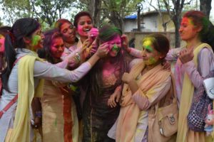 Ranchi Women's college students enjoyed with colour powder ahead of Holi