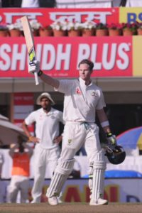 Australian Skipper Steve Smith celebrates his Century on the 1st day of third test match against India