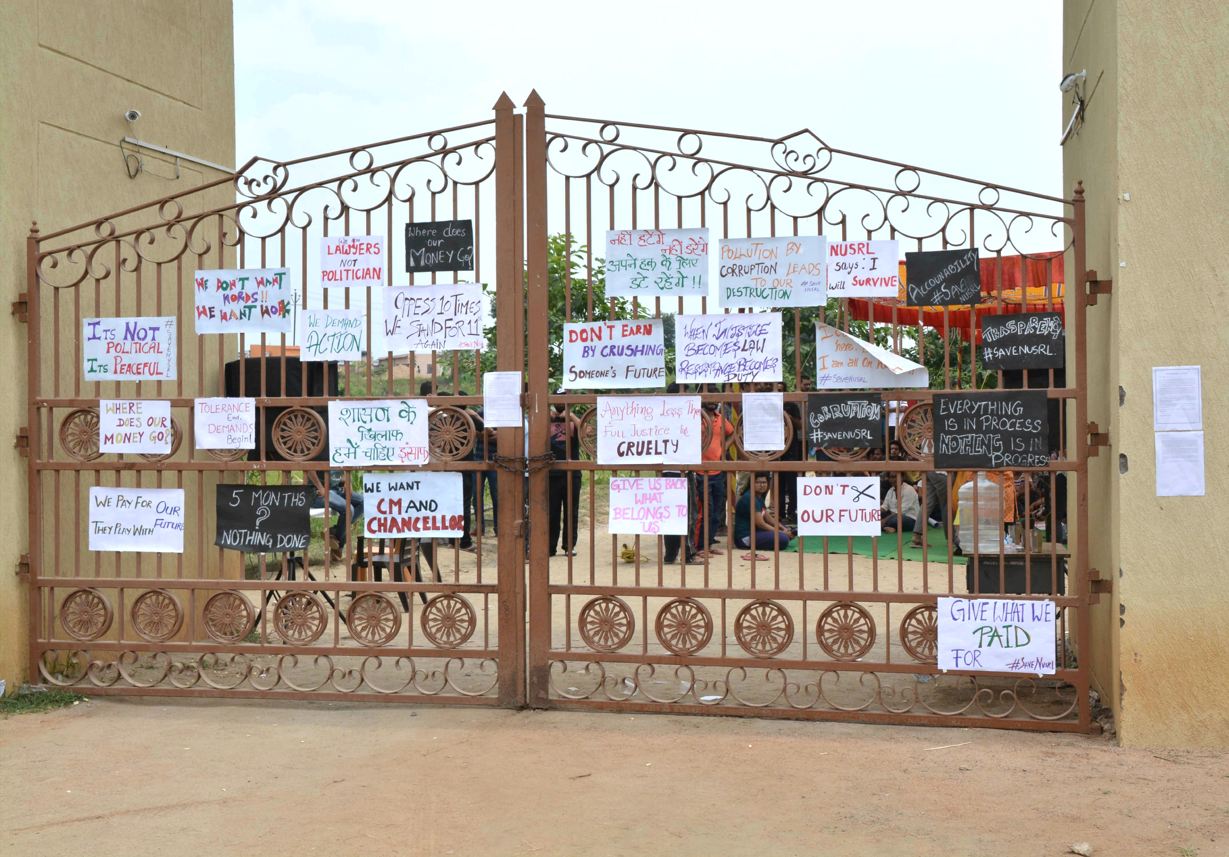 NUSRL students on strike :: Demanding removal of VC