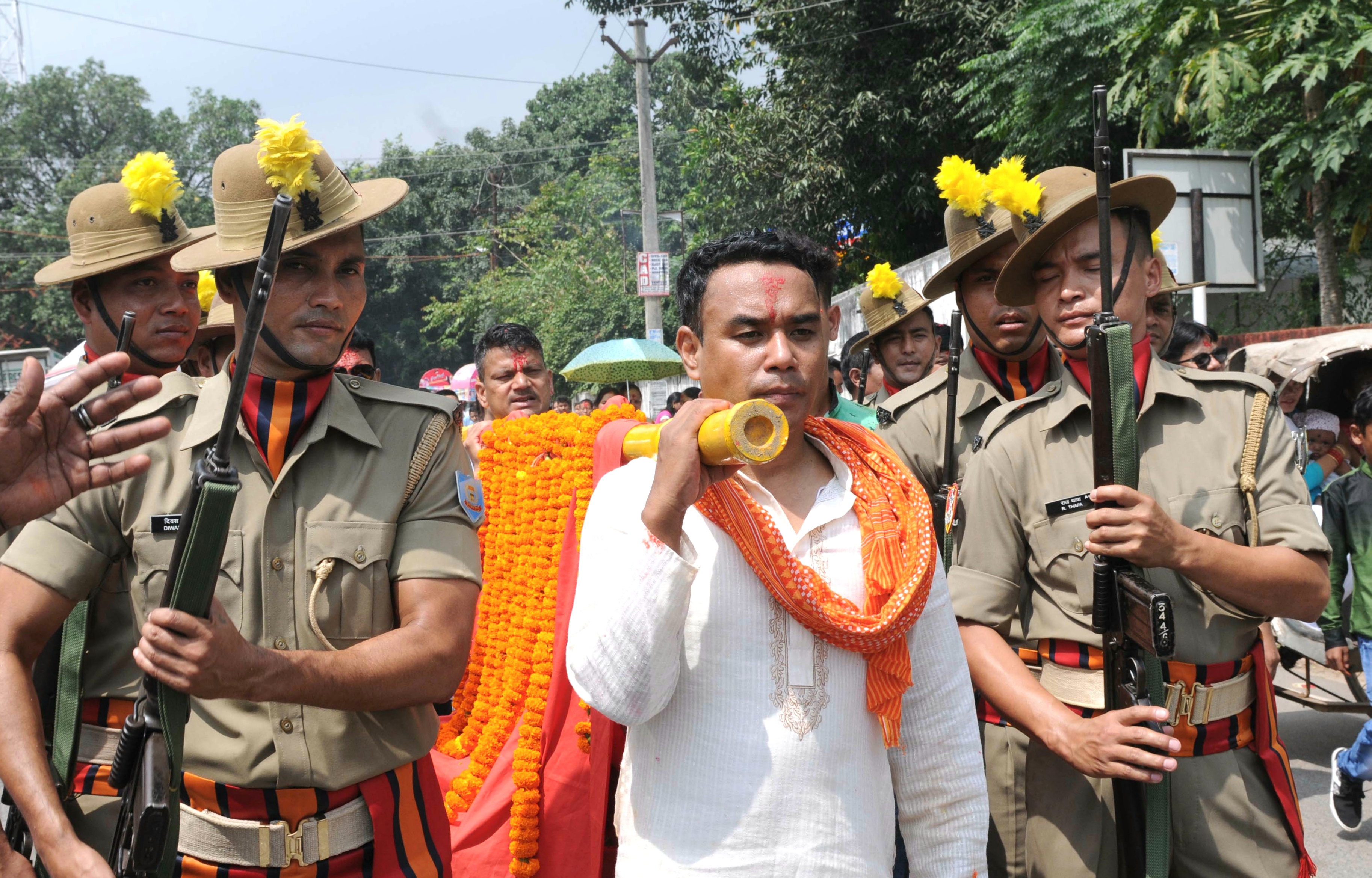 Mahasapatmi :: Jharkhand Armed Police forces participate in a Doli Yatra