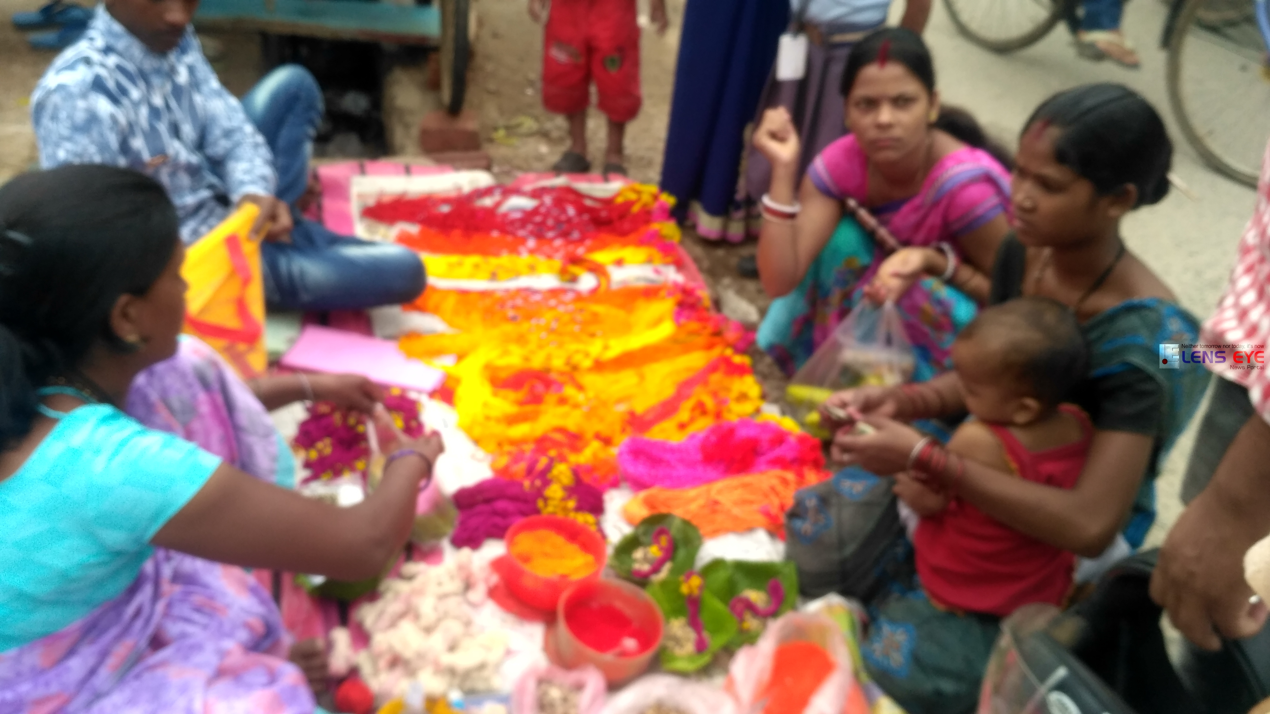 Devotees purchasing puja items ahead of Jivitputrika vrat puja festival