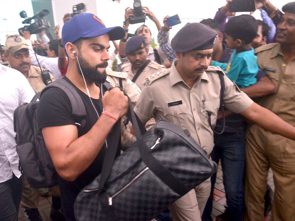 Indian Cricket Team captain, Virat Kohli arrives at Birsa Munda International Airport