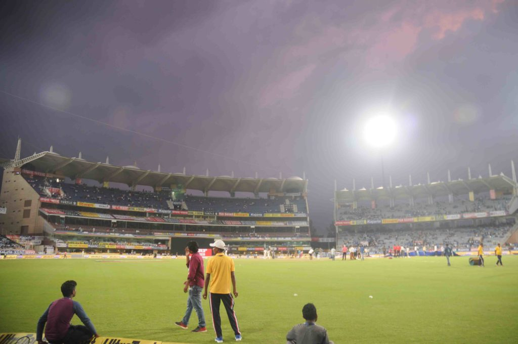India Australia T20 match :: Dark clouds hover over JSCA Stadium.