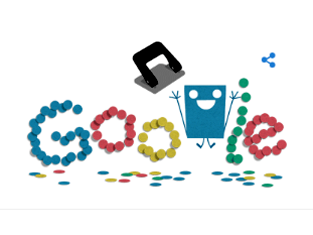 Google celebrated the 131st anniversary of the hole puncher with a animated Doodle