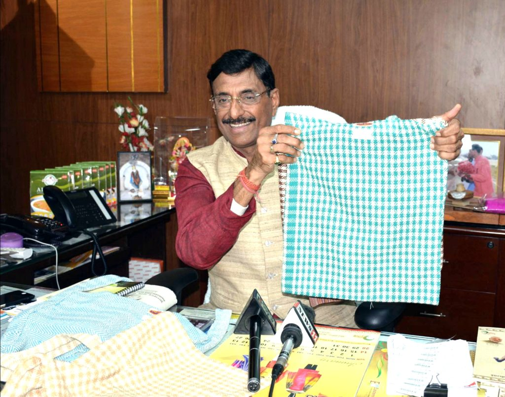 Jharkhand Khadi and Village Industries Board chairman Sanjay Seth launches the newly made Cloth bags