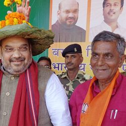 National president of BJP, Amit Shah addressed an Election campaign rally at Gomia & Barhi.