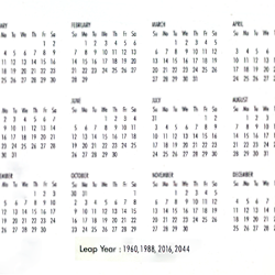 Same Calender for the Leap Years 1960, 1988, 2016, 2044
