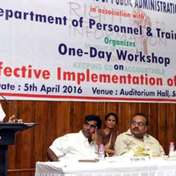 State Level workshop on Effective Implementation of Right to Information (RTI) Act at SKIPA