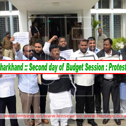 Jharkhand :: Second day of Budget Session : Protest by Opposition