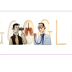 Google  Pays Tribute to Rene Laennec [ the inventor of stethoscope ] On His 235th Birthday with a Doodle