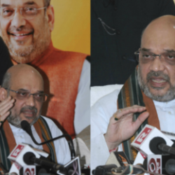 BJP National President Amit Shah addresses a press conference at BJP state head quarter