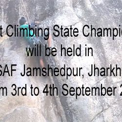 Sport Climbing State Championship from 3rd to 4th September 2016 in TSAF Jamshedpur, Jharkhand.