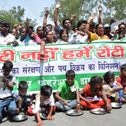 Jharkhand :: Protest by Foothpath Vendors