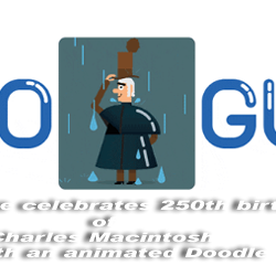 Google celebrates 250th birthday of Charles Macintosh with an animated Doodle