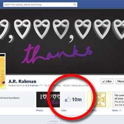 Ten Million + likes for A.R.Rahman Official Facebook Page.