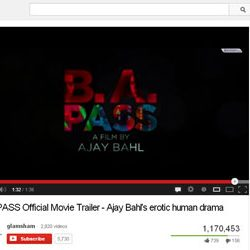 """One Million + Views for """"BA PASS"""",Official Movie Trailer  in You Tube."""