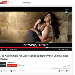 """""""Jee Karda"""" Official Full Video Song of Badlapur on You Tube."""
