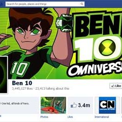Three Million + likes for Ben 10 Official Facebook Page.