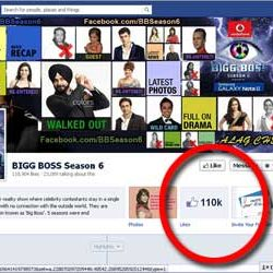 One Million + likes for Bigg Boss Season 6, Facebook Page.