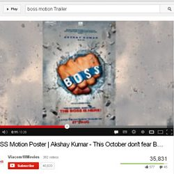 """Motion Poster of """"BOSS"""", on You Tube."""