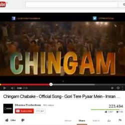 "Official Song ""Chingam Chabake"", of Bollywood Film ""Gori Tere Pyaar Mein"" Released on You Tube."