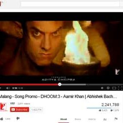 "Two Million + Views for ""Malang"", Song from DHOOM:3  in You Tube."