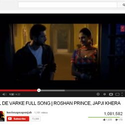 """One Million + Views for """"DIL DE VARKE"""",Song in You Tube."""