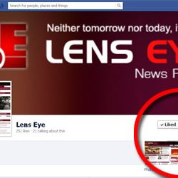 Two Fifty + likes for Lens Eye.co Facebook Page.