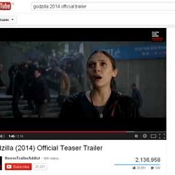 "Two Million + Views for ""Godzilla (2014)"", Official Teaser Trailer  in You Tube."