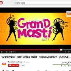 """Two Million + Views for """"Grand Masti Trailer"""" Official Trailer  in You Tube."""