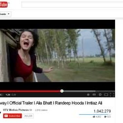 "One Million + Views for Official Trailer of  ""Highway"",  in You Tube."