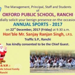 Annual sports of Oxford Public School on 22nd of December 2017.