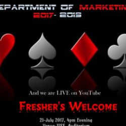 Freshers' 2017 for the batch of Marketing Management on 21st of July 2017