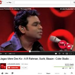 """Jagao Mere Des Ko"", Song by A.R Rahman Released on You Tube."