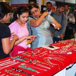 Tribal Jewellery appealing the Visitors of Jharkhand Pavilion at IITF 2013, New Delhi