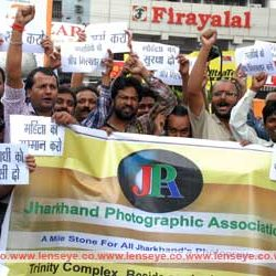 Demonstration by Jharkhand Photographic Association against the gang-rape of Female Photo Journalist in Mumbai.