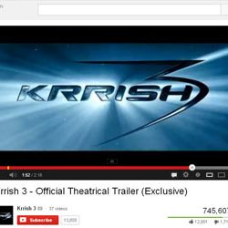 """Official Theatrical Trailer of """"Krrish 3"""" Released on You Tube."""