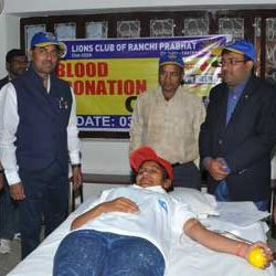 Blood Donation Camp by Lions Club Ranchi Prabhat & Advance Commerce Academy.